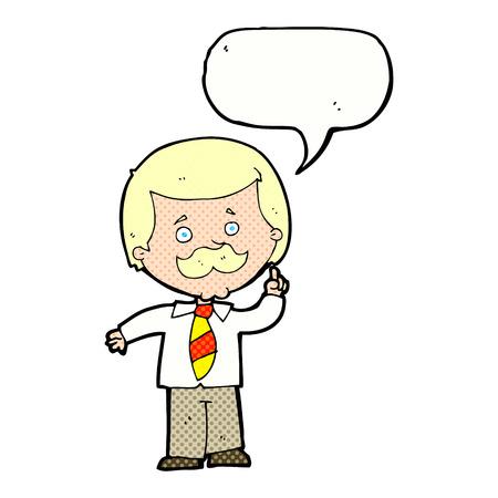 newsreader: cartoon newsreader man with idea with speech bubble Illustration