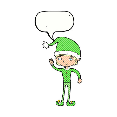 cartoon waving christmas elf with speech bubble Vector