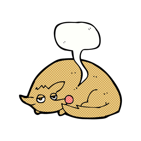 curled up: cartoon curled up dog with speech bubble