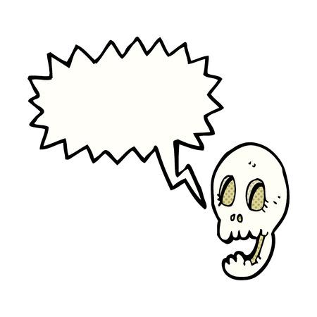 funny cartoon skull with speech bubble Vector