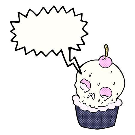 cartoon halloween cup cake with speech bubble Vector