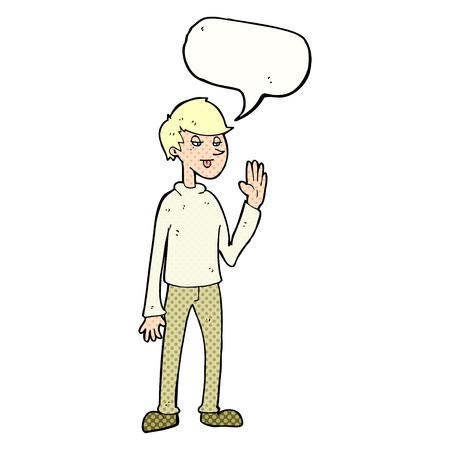 cartoon waving man with speech bubble Vector