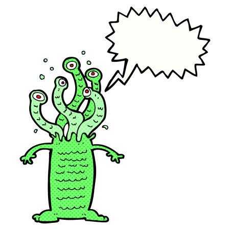 cartoon alien: cartoon monster with speech bubble Illustration