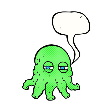 alien face: cartoon alien face with speech bubble