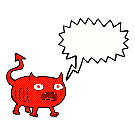 imp: cartoon little imp with speech bubble
