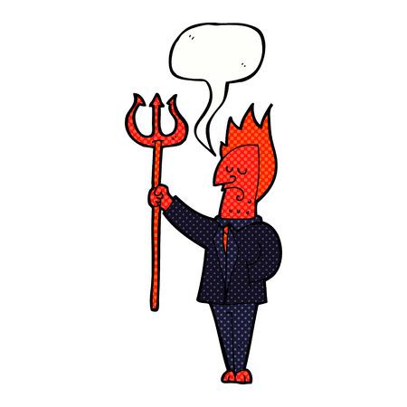 pitchfork: cartoon devil with pitchfork with speech bubble
