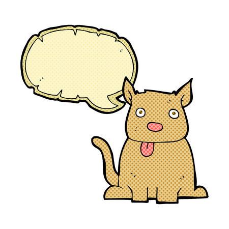 sticking to: cartoon dog sticking out tongue with speech bubble