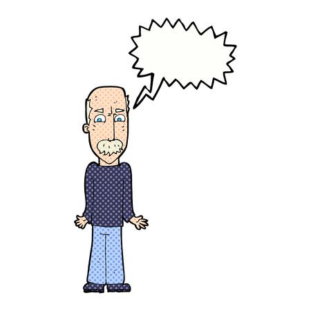 cartoon dad: cartoon dad shrugging shoulders with speech bubble