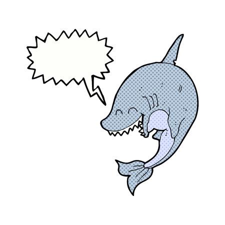 tiburon caricatura: tibur�n de la historieta con la burbuja del discurso