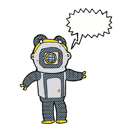 deep sea: cartoon deep sea diver  with speech bubble Illustration