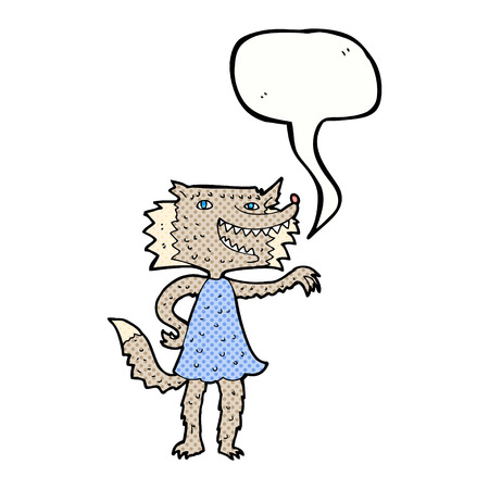 cartoon wolf girl with speech bubble Vector