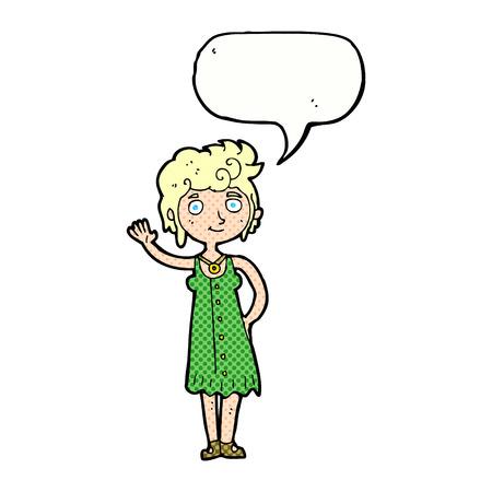 mujer hippie: mujer hippie historieta que agita con la burbuja del discurso Vectores
