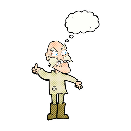 patched: cartoon angry old man in patched clothing with speech bubble Illustration