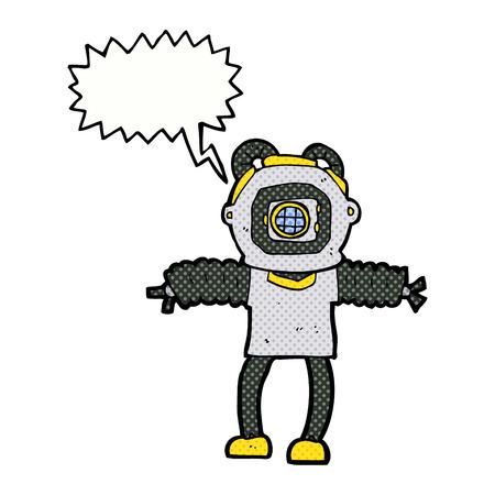 deep: cartoon deep sea diver with speech bubble
