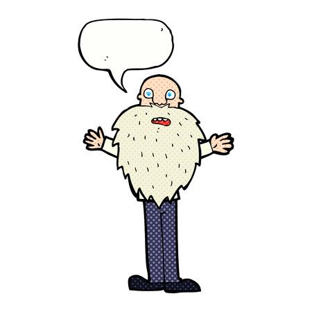 bearded: cartoon bearded old man with speech bubble