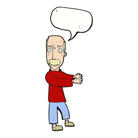 balding: cartoon balding man explaining with speech bubble