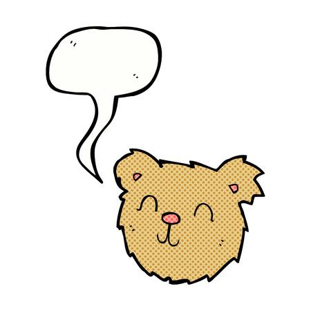 cartoon happy teddy bear face with speech bubble Vector