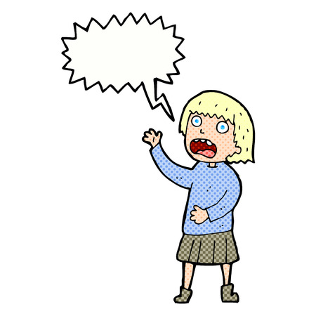 stressed out: cartoon stressed out woman with speech bubble Illustration
