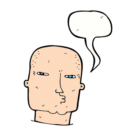 tough: cartoon bald tough guy with speech bubble