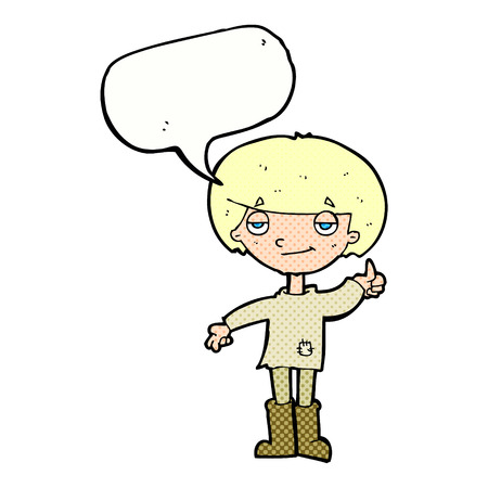 patched up: cartoon boy in poor clothing giving thumbs up symbol with speech bubble Illustration