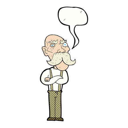 grumpy old man: cartoon angry old man with speech bubble