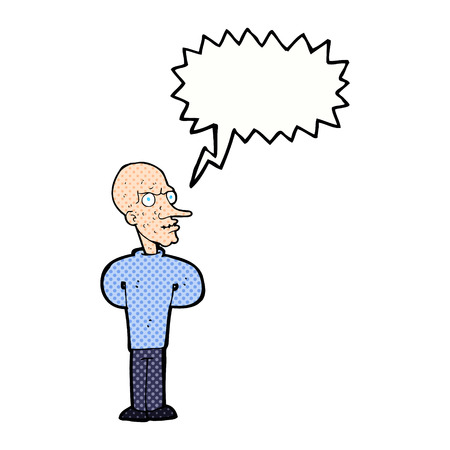 bald man: cartoon evil bald man with speech bubble