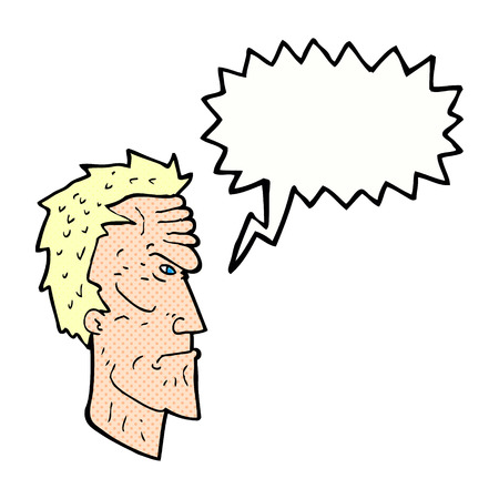 wrinkled face: cartoon angry face with speech bubble Illustration
