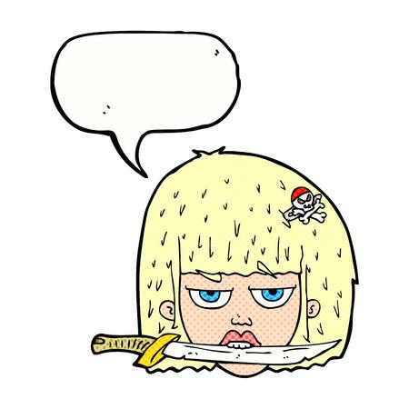 between: cartoon woman holding knife between teeth with speech bubble