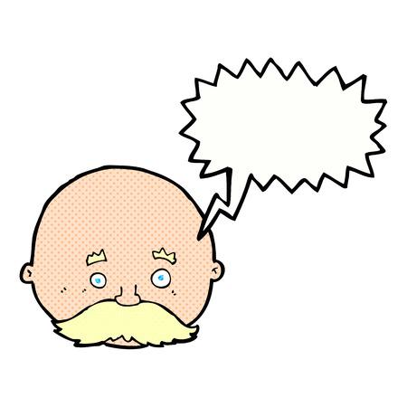 bald man: cartoon bald man with mustache with speech bubble Illustration