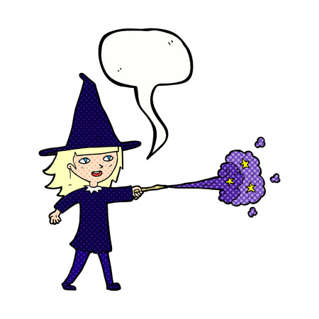 spell: cartoon witch girl casting spell with speech bubble