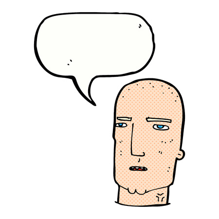 tough guy: cartoon bald tough guy with speech bubble