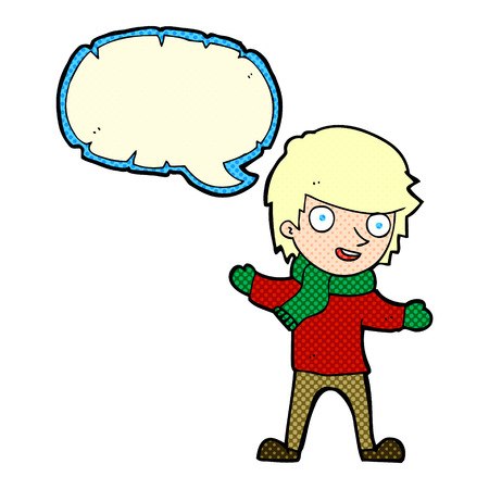 winter clothes: cartoon boy in winter clothes with speech bubble