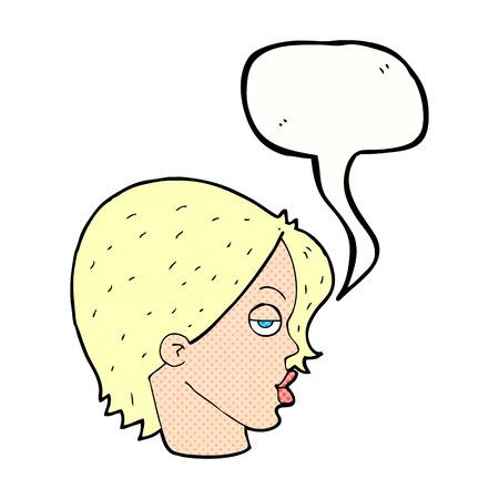 eyebrow: cartoon woman raising eyebrow with speech bubble