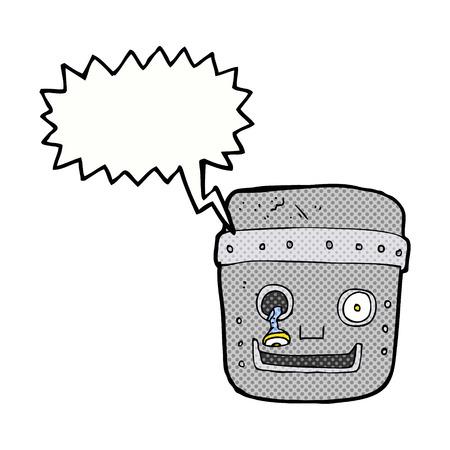 talking robot: cartoon robot head with speech bubble