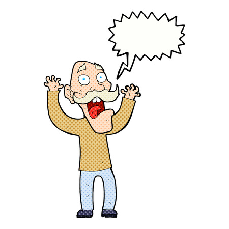 shrieking: cartoon old man getting a fright with speech bubble Illustration