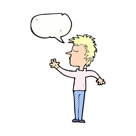 dismissive: cartoon dismissive man with speech bubble Illustration