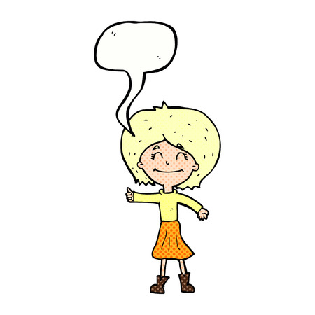 thumbs up symbol: cartoon happy girl giving thumbs up symbol with speech bubble