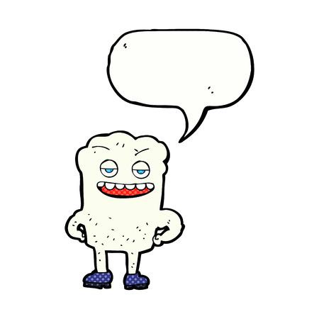smug: cartoon tooth looking smug with speech bubble
