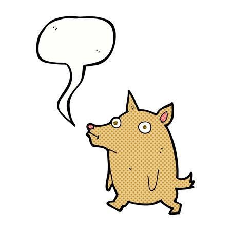 pent: cartoon funny little dog with speech bubble