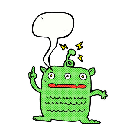 weird: cartoon weird little alien with speech bubble Illustration