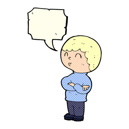 folded arms: cartoon boy with folded arms with speech bubble Illustration