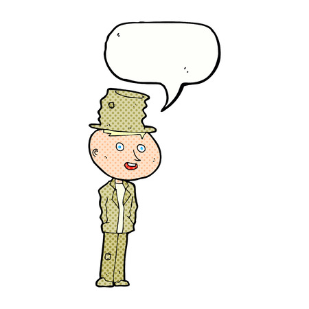 hobo: cartoon funny hobo man with speech bubble Illustration