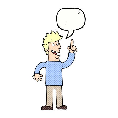 new idea: cartoon man with great new idea with speech bubble