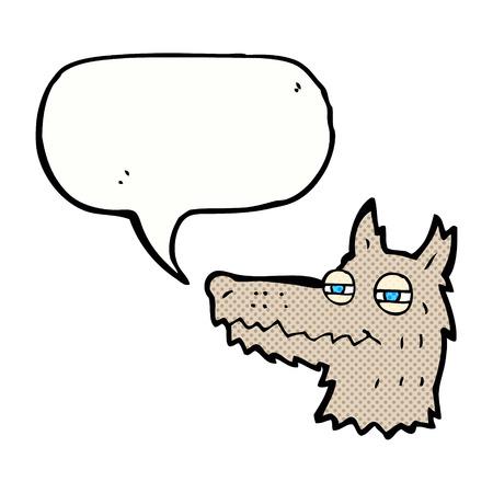 smug: cartoon smug wolf face with speech bubble
