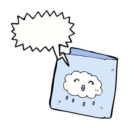 raincloud: cartoon card with cloud pattern with speech bubble