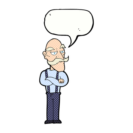 disapproving: cartoon bored old man with speech bubble