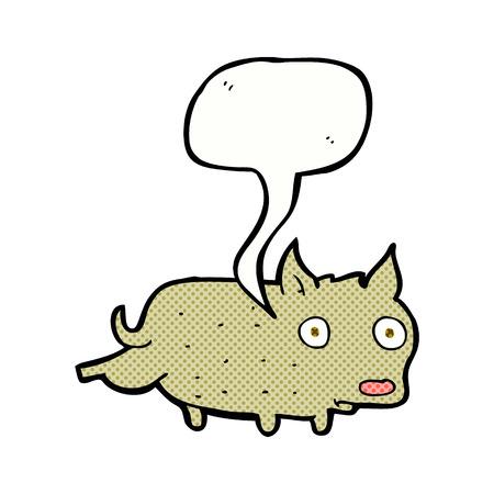 cocking: cartoon little dog cocking leg with speech bubble