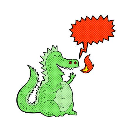 cartoon fire: cartoon fire breathing dragon with speech bubble Illustration