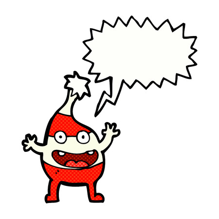 funny christmas: cartoon funny christmas creature with speech bubble