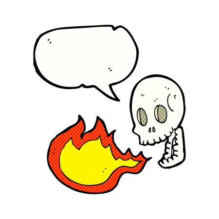 cartoon fire: cartoon fire breathing skull with speech bubble
